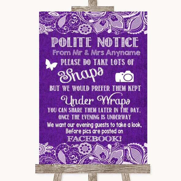 Purple Burlap & Lace Don't Post Photos Facebook Personalised Wedding Sign