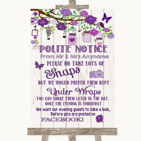 Purple Rustic Wood Don't Post Photos Facebook Personalised Wedding Sign