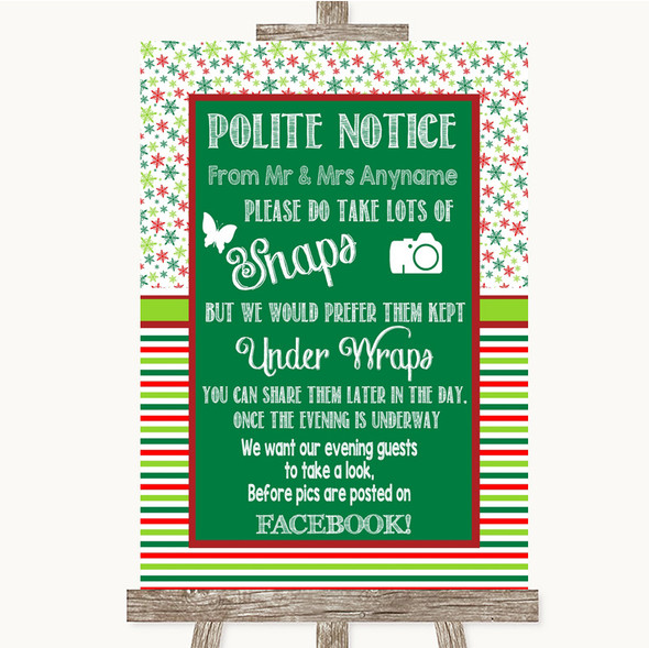 Red & Green Winter Don't Post Photos Facebook Personalised Wedding Sign