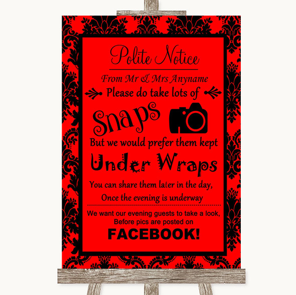 Red Damask Don't Post Photos Facebook Personalised Wedding Sign
