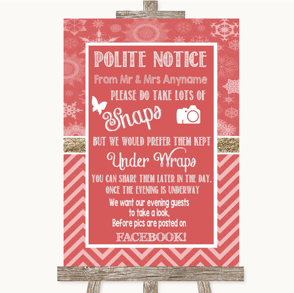 Red Winter Don't Post Photos Facebook Personalised Wedding Sign