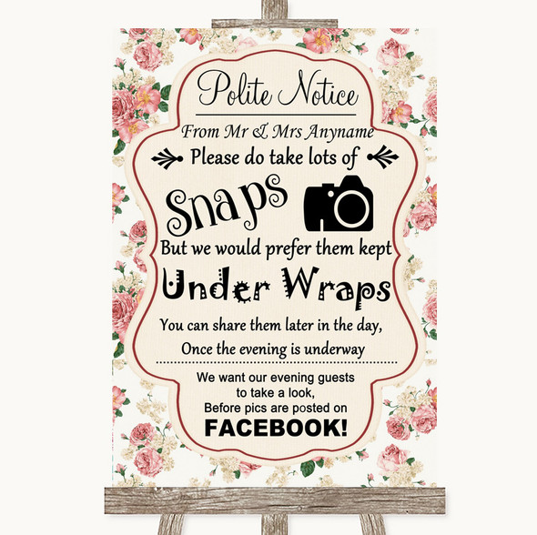 Vintage Roses Don't Post Photos Facebook Personalised Wedding Sign
