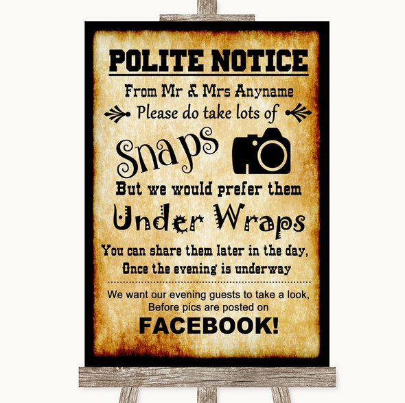 Western Don't Post Photos Facebook Personalised Wedding Sign
