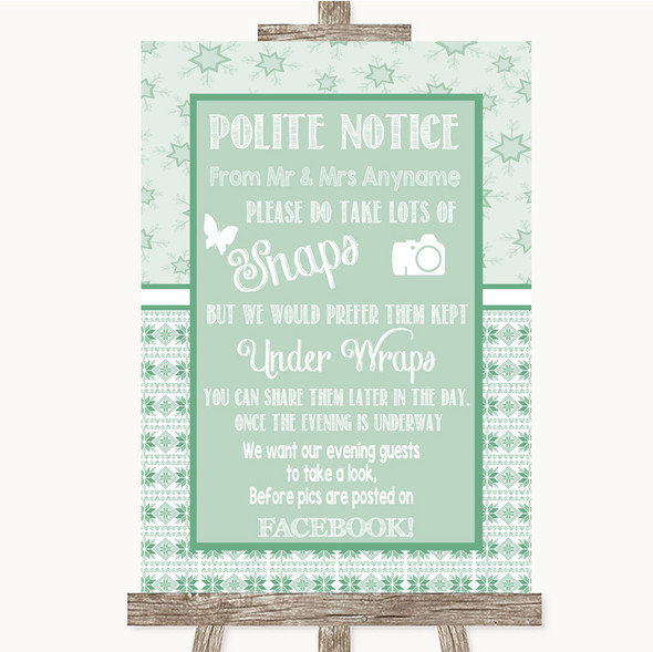 Winter Green Don't Post Photos Facebook Personalised Wedding Sign