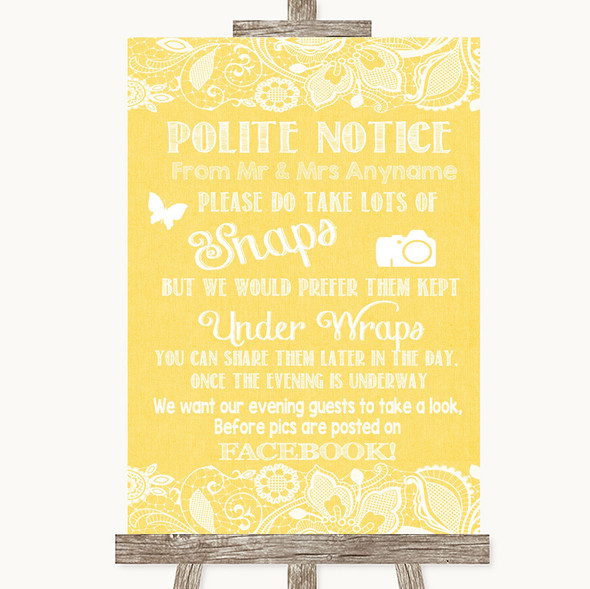 Yellow Burlap & Lace Don't Post Photos Facebook Personalised Wedding Sign