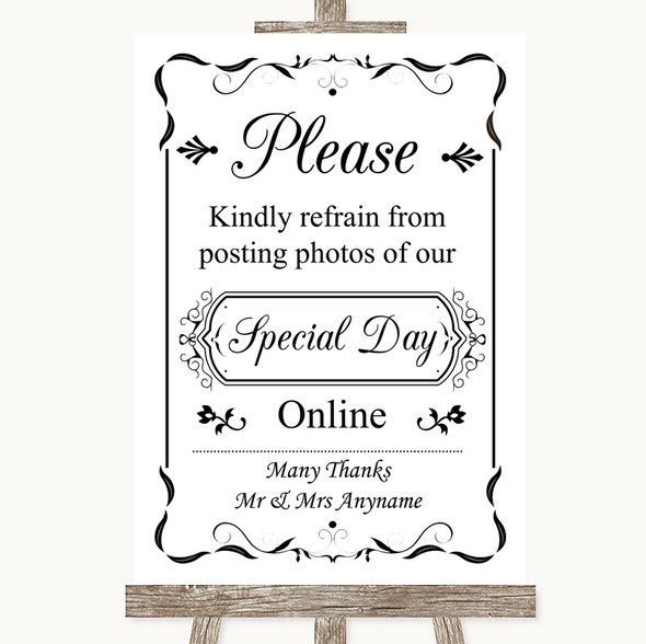 Black & White Don't Post Photos Online Social Media Personalised Wedding Sign