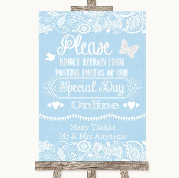 Blue Burlap & Lace Don't Post Photos Online Social Media Wedding Sign
