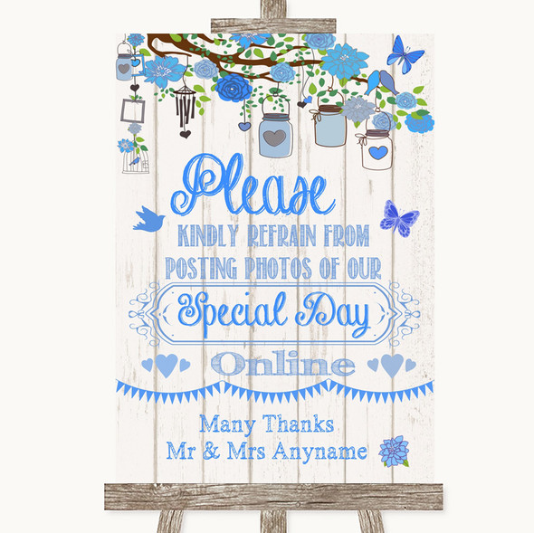 Blue Rustic Wood Don't Post Photos Online Social Media Personalised Wedding Sign