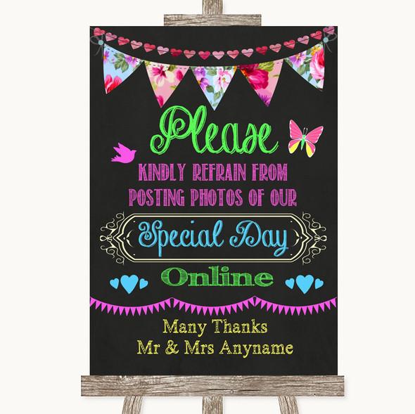 Bright Bunting Chalk Don't Post Photos Online Social Media Wedding Sign