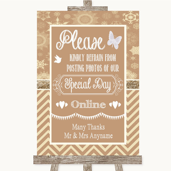 Brown Winter Don't Post Photos Online Social Media Personalised Wedding Sign