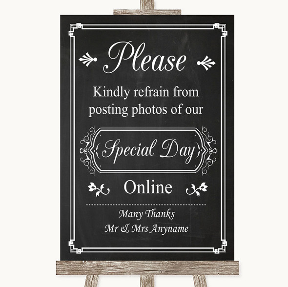 Chalk Style Don't Post Photos Online Social Media Personalised Wedding Sign