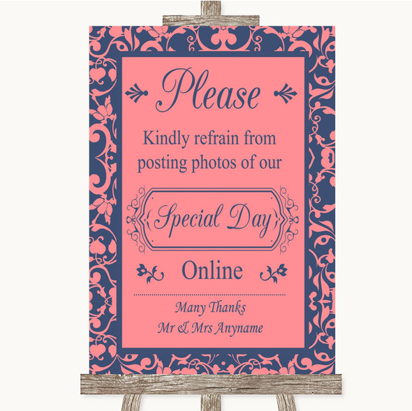 Coral Pink & Blue Don't Post Photos Online Social Media Wedding Sign