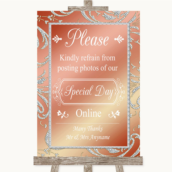 Coral Pink Don't Post Photos Online Social Media Personalised Wedding Sign