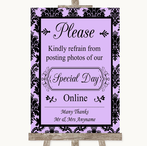 Lilac Damask Don't Post Photos Online Social Media Personalised Wedding Sign