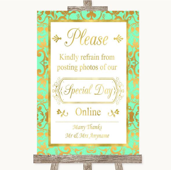 Mint Green & Gold Don't Post Photos Online Social Media Wedding Sign