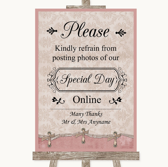 Pink Shabby Chic Don't Post Photos Online Social Media Personalised Wedding Sign
