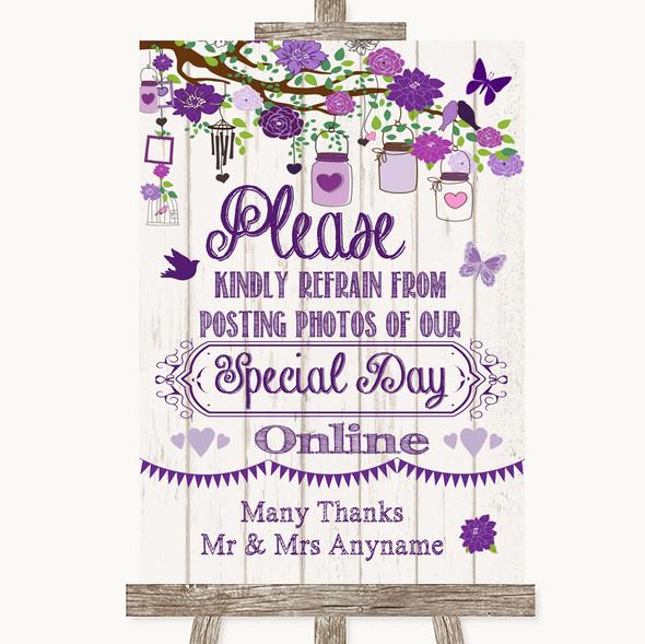 Purple Rustic Wood Don't Post Photos Online Social Media Wedding Sign