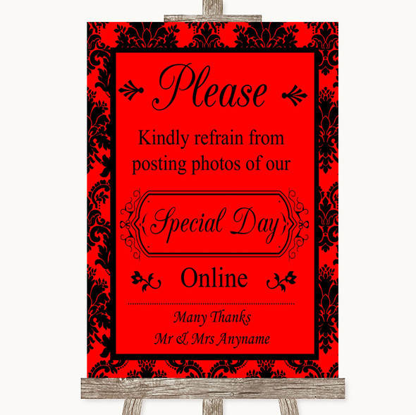 Red Damask Don't Post Photos Online Social Media Personalised Wedding Sign