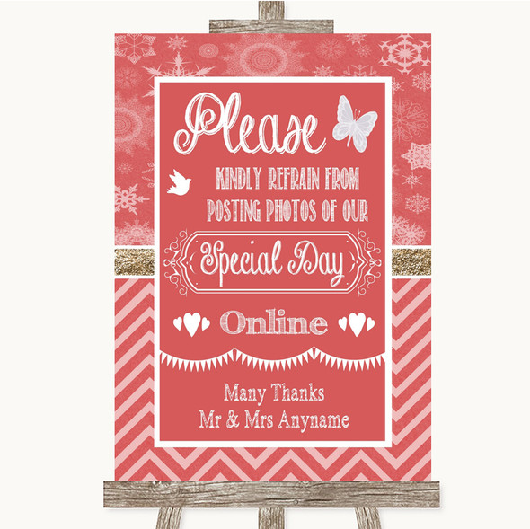 Red Winter Don't Post Photos Online Social Media Personalised Wedding Sign