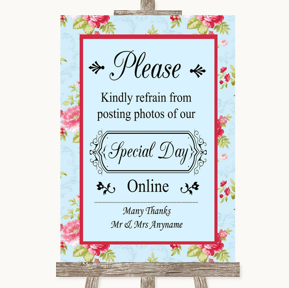 Shabby Chic Floral Don't Post Photos Online Social Media Wedding Sign