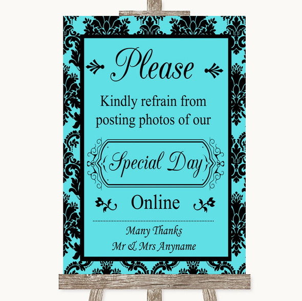 Tiffany Blue Damask Don't Post Photos Online Social Media Wedding Sign