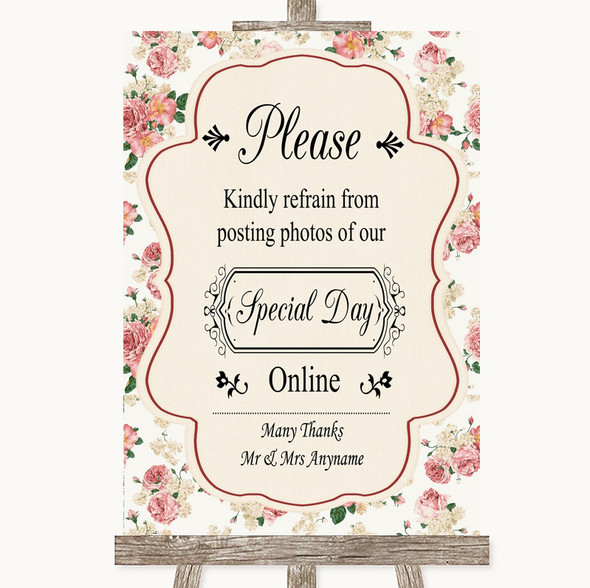 Vintage Roses Don't Post Photos Online Social Media Personalised Wedding Sign