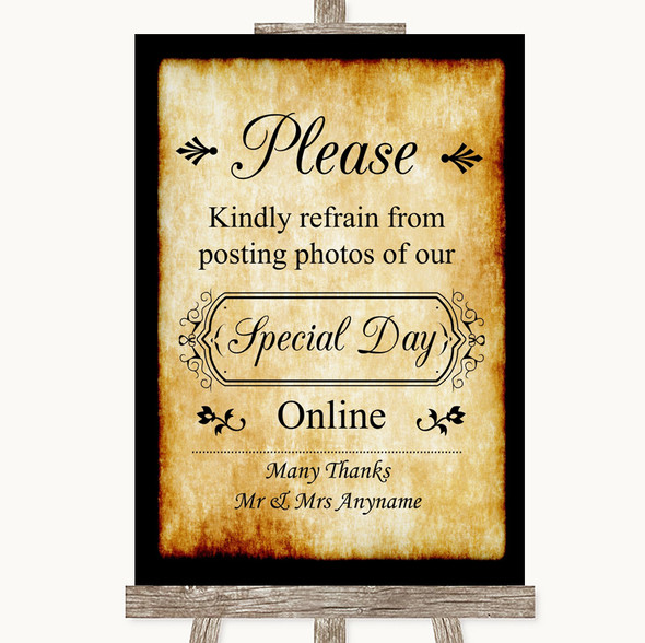 Western Don't Post Photos Online Social Media Personalised Wedding Sign