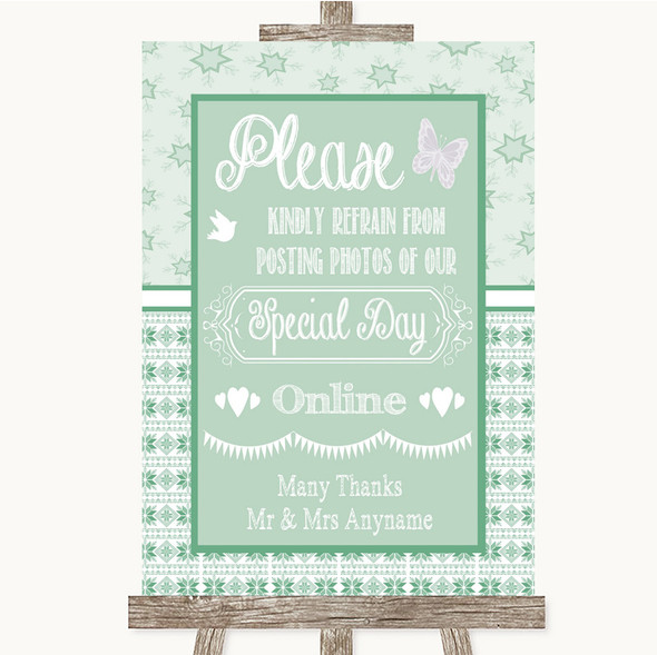 Winter Green Don't Post Photos Online Social Media Personalised Wedding Sign