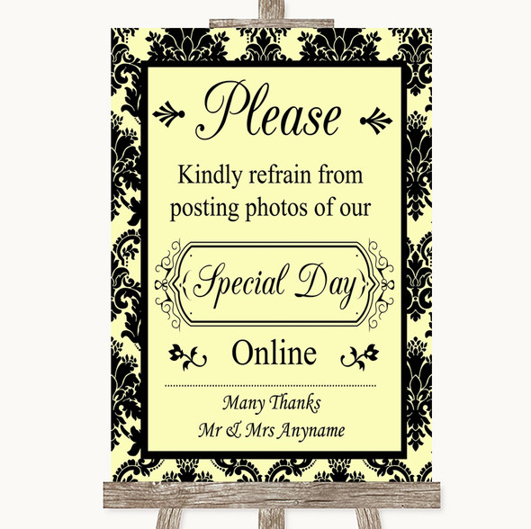 Yellow Damask Don't Post Photos Online Social Media Personalised Wedding Sign