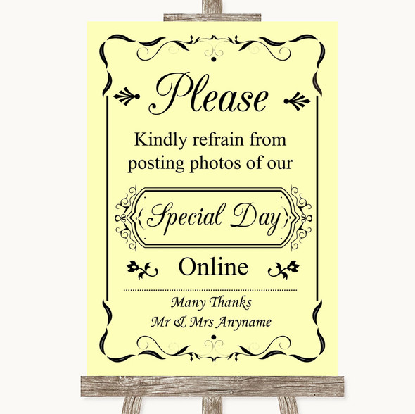 Yellow Don't Post Photos Online Social Media Personalised Wedding Sign
