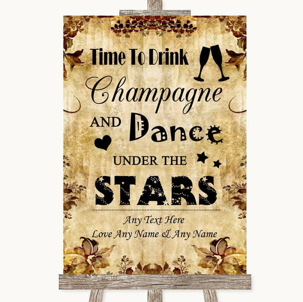 Autumn Vintage Drink Champagne Dance Stars Personalised Wedding Sign