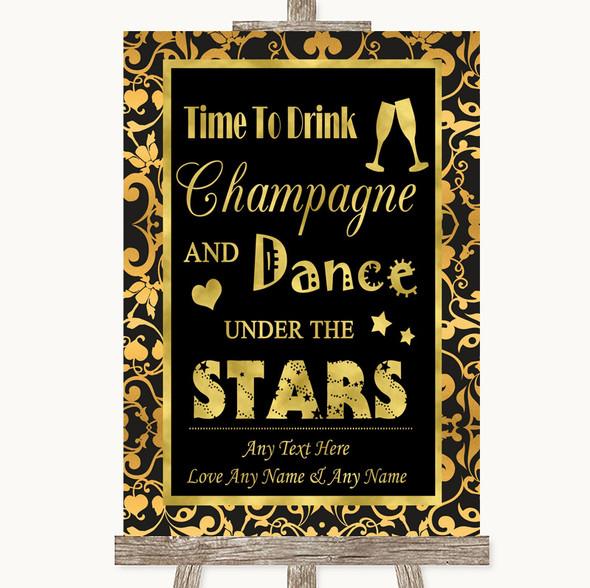 Black & Gold Damask Drink Champagne Dance Stars Personalised Wedding Sign
