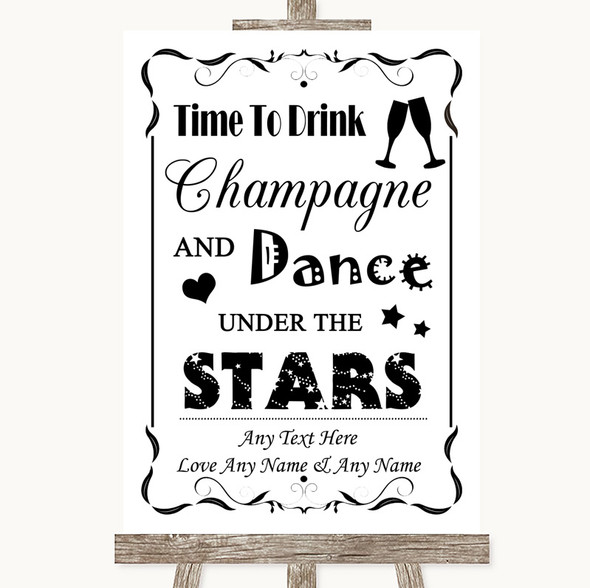 Black & White Drink Champagne Dance Stars Personalised Wedding Sign