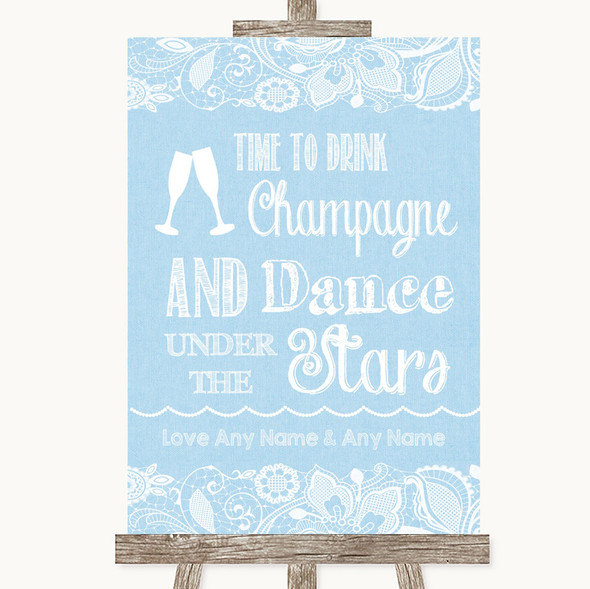 Blue Burlap & Lace Drink Champagne Dance Stars Personalised Wedding Sign