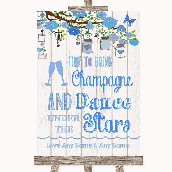 Blue Rustic Wood Drink Champagne Dance Stars Personalised Wedding Sign