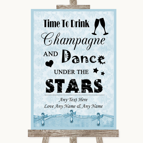 Blue Shabby Chic Drink Champagne Dance Stars Personalised Wedding Sign