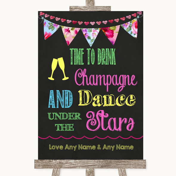 Bright Bunting Chalk Drink Champagne Dance Stars Personalised Wedding Sign