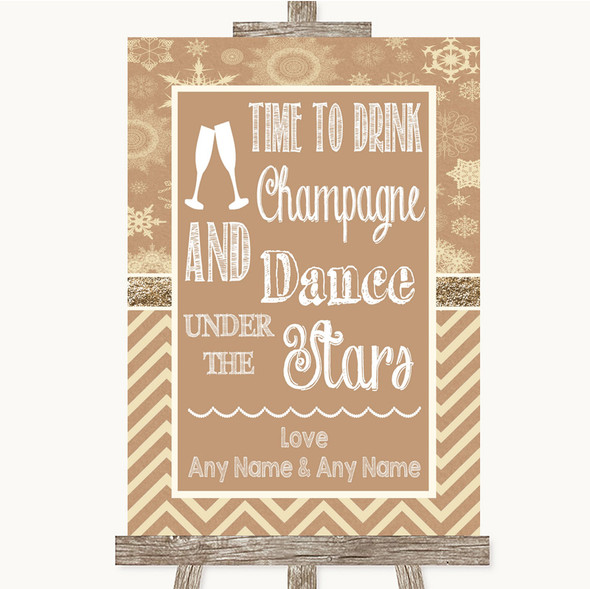 Brown Winter Drink Champagne Dance Stars Personalised Wedding Sign