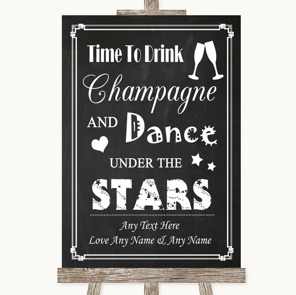Chalk Style Drink Champagne Dance Stars Personalised Wedding Sign