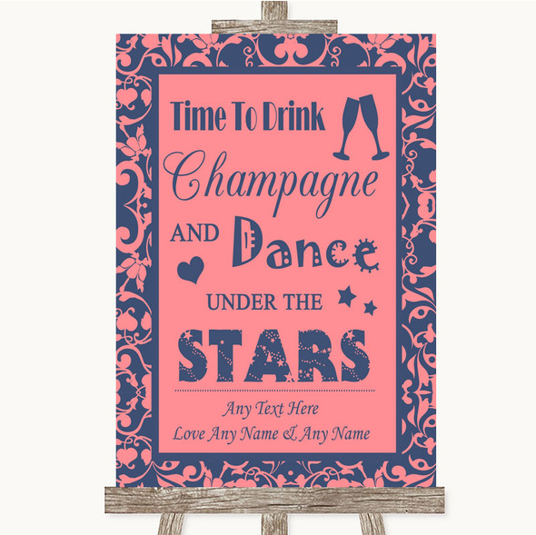 Coral Pink & Blue Drink Champagne Dance Stars Personalised Wedding Sign