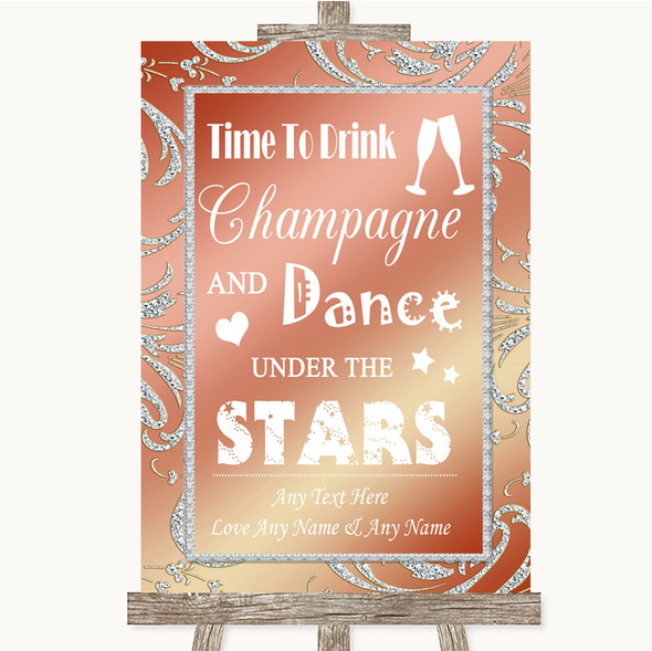 Coral Pink Drink Champagne Dance Stars Personalised Wedding Sign