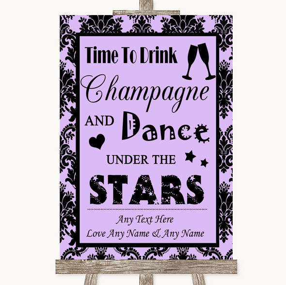 Lilac Damask Drink Champagne Dance Stars Personalised Wedding Sign