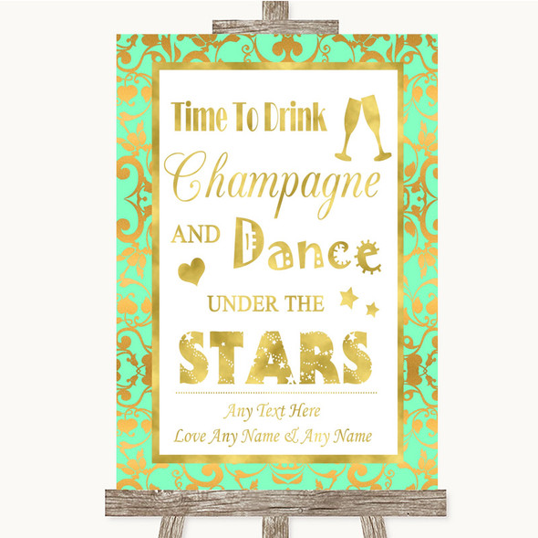 Mint Green & Gold Drink Champagne Dance Stars Personalised Wedding Sign