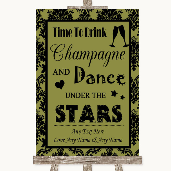 Olive Green Damask Drink Champagne Dance Stars Personalised Wedding Sign