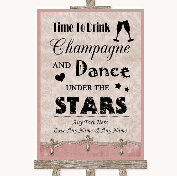 Pink Shabby Chic Drink Champagne Dance Stars Personalised Wedding Sign