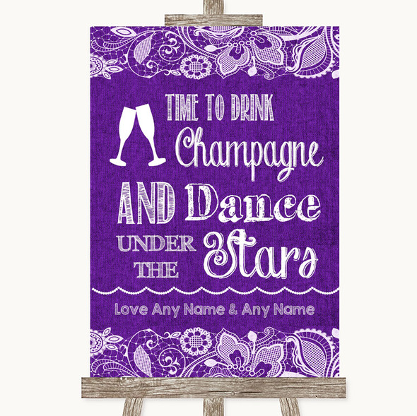 Purple Burlap & Lace Drink Champagne Dance Stars Personalised Wedding Sign