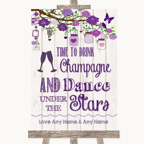 Purple Rustic Wood Drink Champagne Dance Stars Personalised Wedding Sign