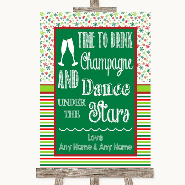 Red & Green Winter Drink Champagne Dance Stars Personalised Wedding Sign