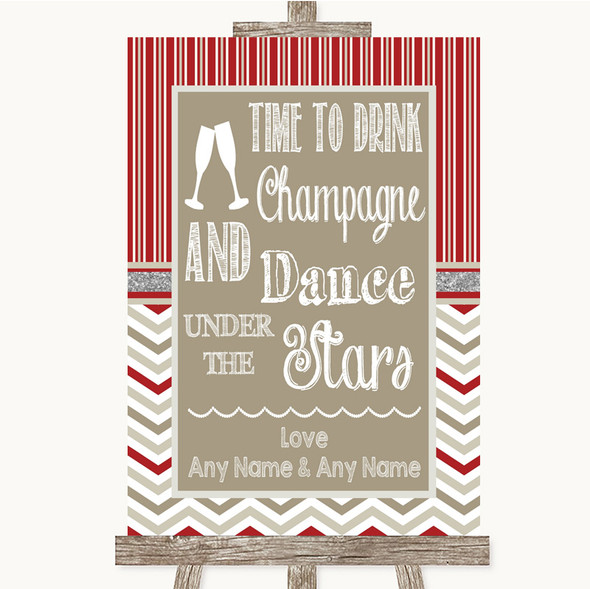 Red & Grey Winter Drink Champagne Dance Stars Personalised Wedding Sign