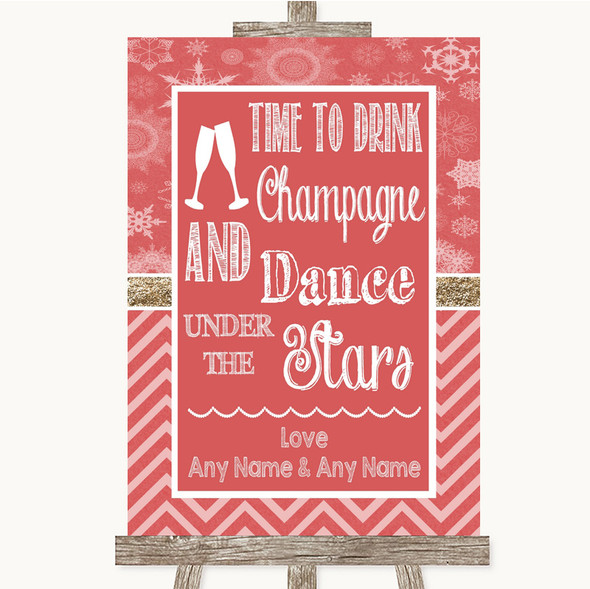 Red Winter Drink Champagne Dance Stars Personalised Wedding Sign